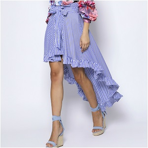 Striped Ruffle Asymmetric Φούστα
