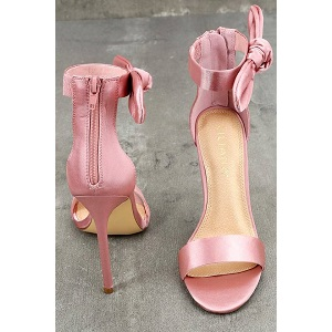 Xia Dusty Pink Satin Ankle Strap Heels