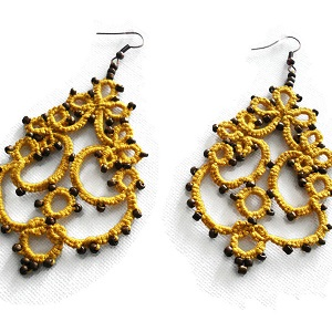 Statement lace yellow earrings