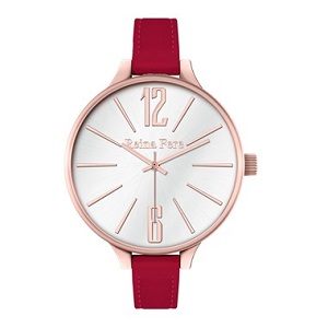 REINA FERE Rose Gold Red Leather Strap