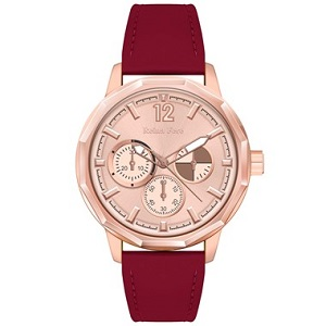 REINA FERE Amphitrite Rose Gold Red Leather Strap