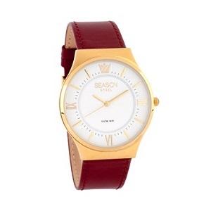 SEASON TIME Classic Gold Bordeaux Leather Strap