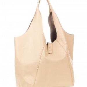 Γυναικεία τσάντα ώμου από δέρμα σε μπεζ χρώμα