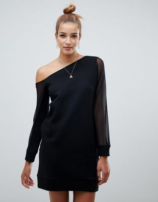 ASOS DESIGN off shoulder sweat dress with mesh sleeve