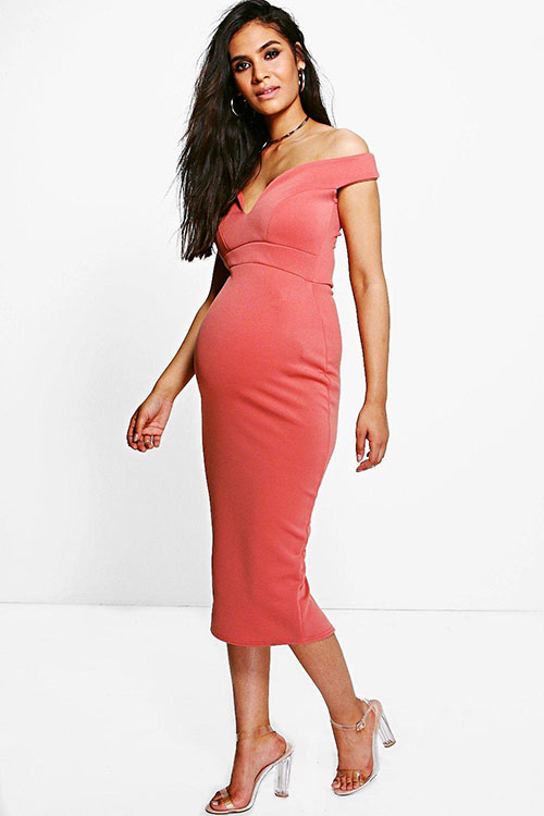 Maternity Sweetheart Off The Shoulder Midi Dress
