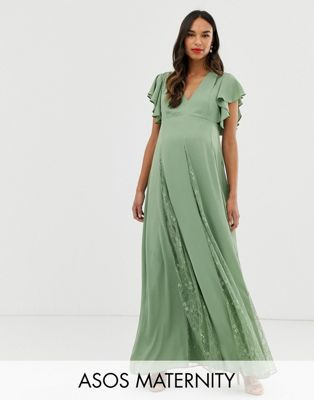 ASOS DESIGN Maternity maxi dress with godet lace inserts