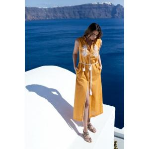 Melissa Long Shirt Dress - Mustard & White