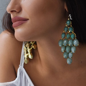 TEAL GRAPE EARRINGS