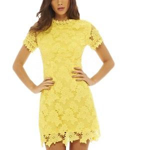 Κίτρινο Δαντελένιο Φόρεμα
