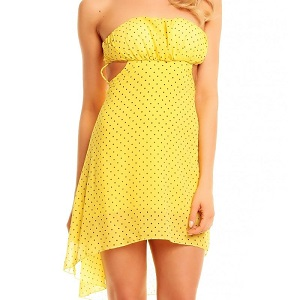 Κίτρινο  φόρεμα με πουά