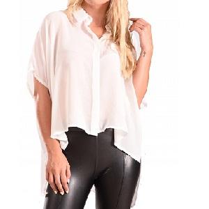 Λευκό πουκάμισο ασύμμετρο