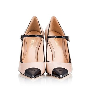 Mary-Jane pointy high heel pumps