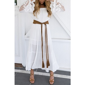 Άσπρο φόρεμα με μανίκια δαντέλα