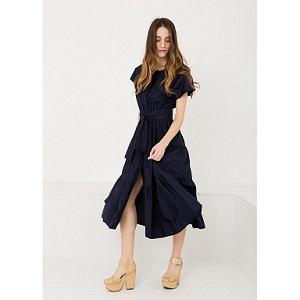 Tie Front Blue Dress