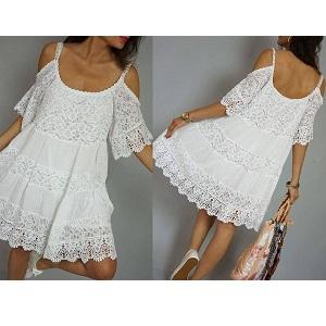 Έθνικ Φόρεμα με cut-out ώμους και Δαντέλα