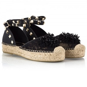 XAVIA Black lace fabric flower embellished gold studded ankle fastening espadrilles
