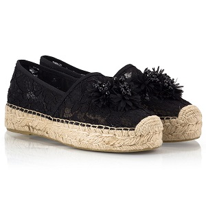 Ash XIMENA Black lace fabric embroidered flower embellished flatform espadrilles