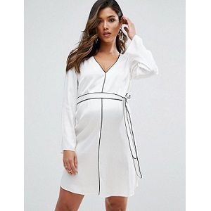 ASOS Maternity Satin Piped Belted Shirt Dress