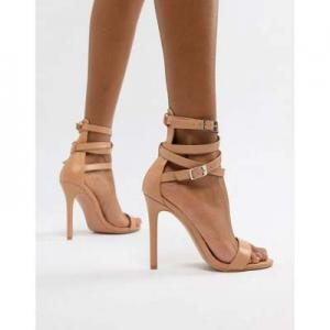 PrettyLittleThing ankle sandals in nude