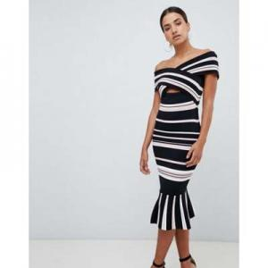 Forever New cut out bardot dress in stripe