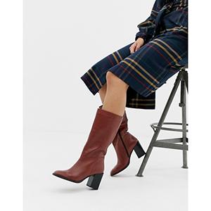 ASOS DESIGN Clara square toe knee boots in leather