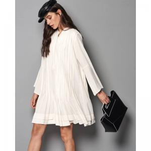 Pleated White Dress by Milla