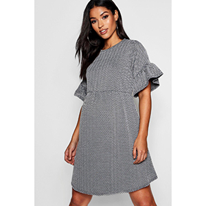 Maternity Chevron Jaquard Smock Dress