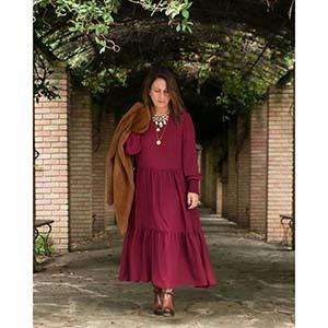 blogger bohemian luxe φόρεμα σε cherry μπορντώ