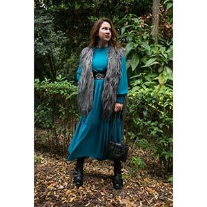blogger bohemian luxe φόρεμα σε πετρόλ