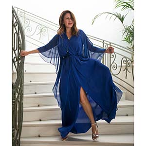 relaxed glamour smart βραδινό φόρεμα cape