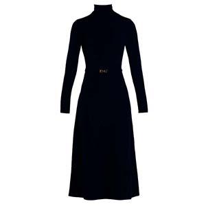 70s φόρεμα slip golden belt σε μαύρο