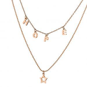 rose gold 2σειρο κολιέ hope pendant