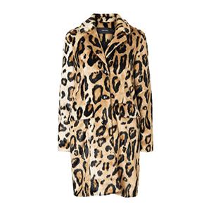 Εμπριμέ λεοπάρ παλτό με συνθετική γούνα