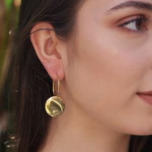 Σκουλαρίκια Από Ορείχαλκο Επιχρυσωμένο Με Δίσκο