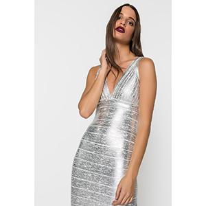 Φορεμα μεταλλιζε με τιραντα