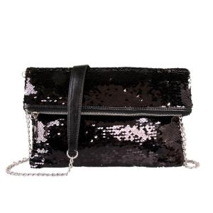 Black Foldover Sequin Clutch