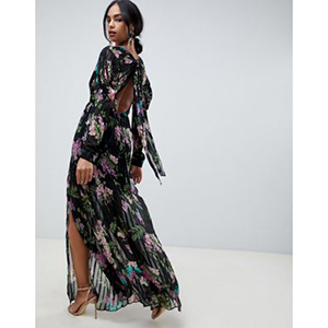 Solid and stripe maxi dress in dark floral print