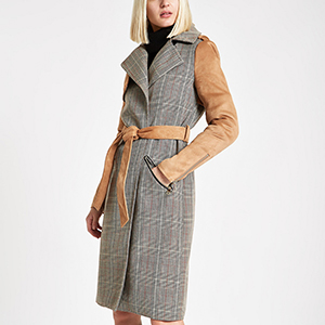 Light brown check suedette trench coat