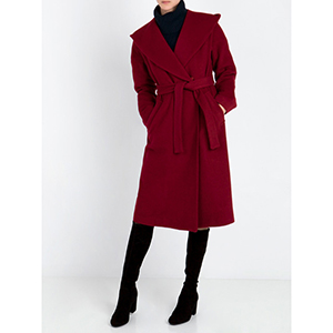 ANNA RISKA Μακρύ Παλτό με Κουκούλα- Κόκκινο