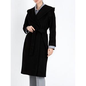 ANNA RISKA Μακρύ Παλτό με Κουκούλα- Μαύρο