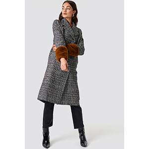 Faux Fur Sleeve Plaid Coat Grey