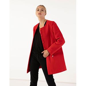 Παλτό χωρίς γιακά με τσέπες