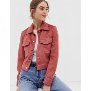 New Look suedette utility trucker jacket in dark pink