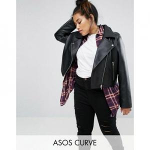 ASOS DESIGN Curve ultimate leather look biker jacket
