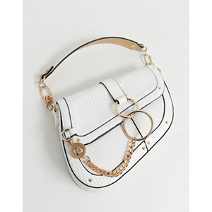River Island saddle bag with chain detail in white