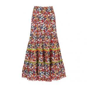 Μακριά εβαζέ φούστα με εμπριμέ μοτίβο και βολάν