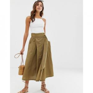 ASOS DESIGN wrap midi skirt