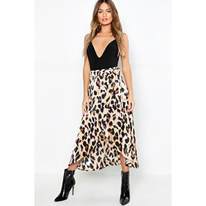 Leopard Satin Wrap Midaxi skirt