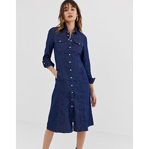 Warehouse denim shirt dress in dark wash