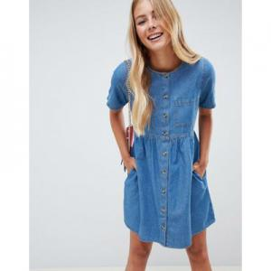 ASOS DESIGN denim smock dress in midwash blue